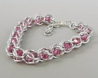 Chainmail Bracelet Chainmaille Swarovski Crystal Passions, Pink Swarovski, Captured Chain Mail Bracelet, Blue Bracelet 729