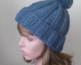 Chunky Knit Hat with Pompom and Rolled Brim Warm Wool Blend Winter Hat in Denim Blue  -  Womens Winter Hat - Ready to Ship Gift for Her