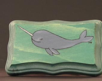 Narwhale Original Painting on Wood