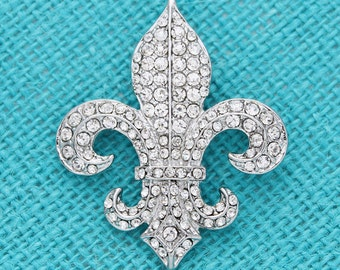 Fleur de Lis Wedding Brooch, Bridal Sash Brooch, Cake Decor, Crystal Silver Fleur de lis Broach, Bouquet Brooches, New Orleans Brooch