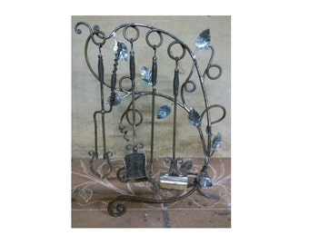Hand Forged Wrought Iron Fireplace Tool Set, Fireplace tool, Blacksmithed Fire Set, Hot Gifts, Backyard Fireplace, Gifts for Men, Dude Gifts