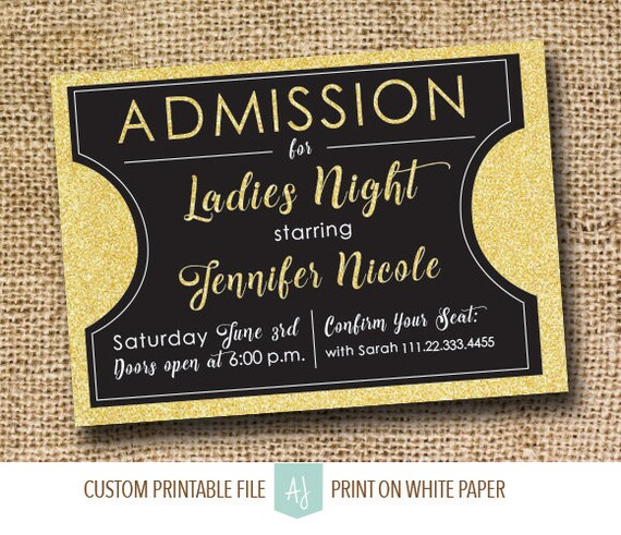 Movie Themed Bachelorette InvitationMovie Ticket Invite for