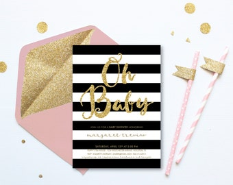 Baby Shower Invitation Girl Printable . Oh Baby Black and White Stripe . Pink and Gold Glitter . Digital Download . Baby Shower Pink Invite