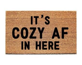 Confortable AF paillasson - tapis d'accueil - porte humoristique Mat - Mat drôle - tapis - paillassons - paillasson humour - paillasson Unique - mignon paillasson - tapis douillet