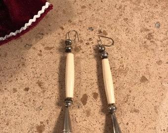 Vintage Navajo Bone & Sterling Silver Dangles
