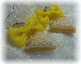 Greedy earrings - creamy polymer lemon pie