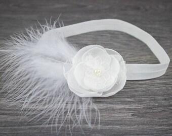 Ivory Christening Headband - Ivory Feather Headband - Baby Headband - Baptism Headband - Girls Headband - Feather Headband -Newborn Headband