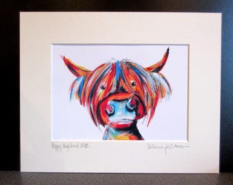 Hippy Highland Moo!!.....art print from an Original painting by Suzanne Patterson.