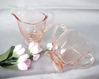 1930s Fostoria Fairfax Tea Sugar and Cream Set in Rose Pink, Elegant Glassware of Depression Era, Vintage Collectible Glass Mini Serving Set