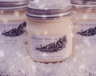 I Smell Snow Soy Candle, All Natural Soy Candle, 10oz, The Holiday Shoppe @ The Ruffled Feather Candle Co.