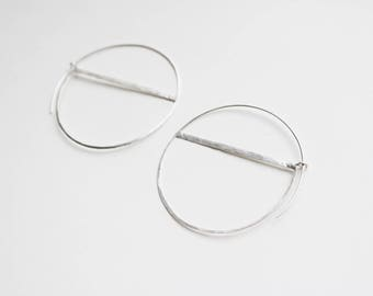 Silver Semi Circle Hoop Earrings