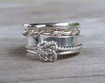 Sterling silver stacking rings love knot twist ring 4 set