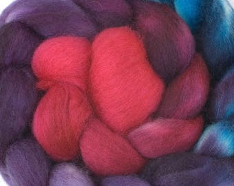 Hand Dyed BFL combed top, 4oz. in Teal Rose
