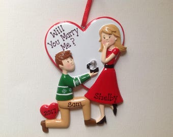 Engagement, She Said Yes, Will You Marry Me, First Personalized Christmas Ornament-Save the date , Wedding Favor Bridal,Anniversary