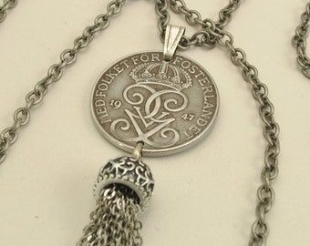 Sweden Coin Necklace 1947 Crowned Monogram
