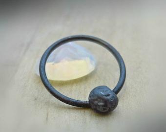 oxidized silver septum ring - black septum ring - septum jewelry 16g