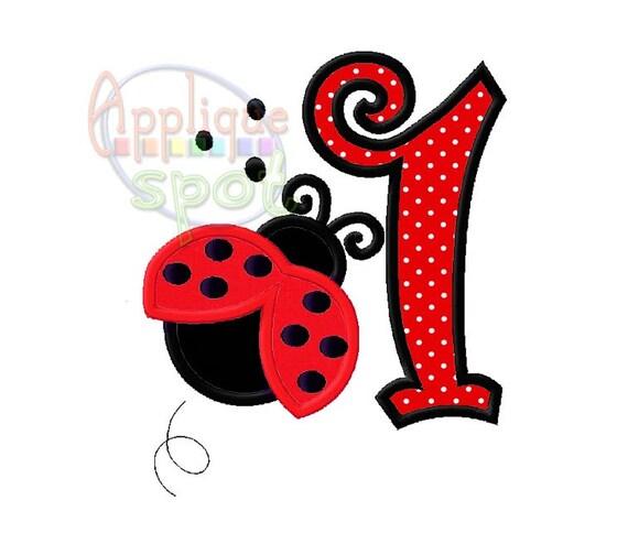 Ladybug First 1st Birthday Girl 1 4x4 5x7 6x10 Applique