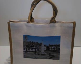 Sandbach Cobbles jute shopper bag featuring artwork by Christian Turner