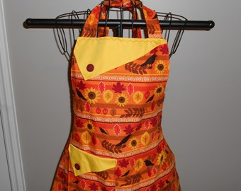 Fall Crows, Sunflowers and Leaves - Women's Apron - Ruffle - Pocket - Autumn - Thanksgiving