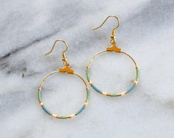 Beaded Hoop Earrings, Green Beaded Earrings, Bohemian Earrings, Beaded Earrings, Mini Hoop Earrings, Gold Hoops, Beaded Hoops, Delicate Hoop