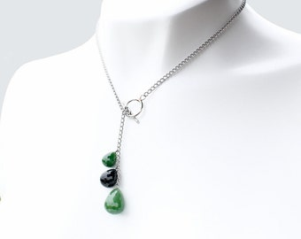 Green Nephrite Jade & Black Jade Lariat Necklace - Stainless Steel Setting - Statement Necklace, Genuine Jade, Natural Jade