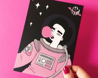 Outer Place mini print -  Girl - Pink - Bubblegum - Outer space - Night sky - Astronaut - Christmas gift
