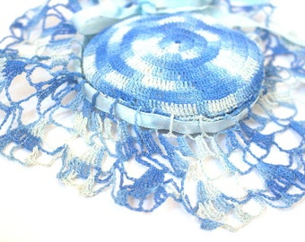 Vintage Pincushion Crocheted Blue and White