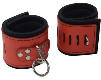 Red Buckleless Leather Cuffs with Neoprene Lining (Goth Cuffs)