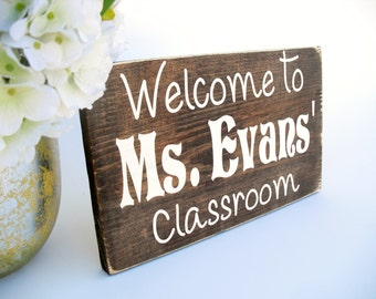 Personalized Welcome to Classroom Rustic Wood Sign Teacher Appreciation Gift (#1334)