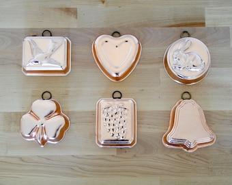 Vintage Pudding moules • ensemble de Six • Miniature gâteau casseroles • Jello cuivre Mini boîtes • Cupcake Or Rose • pays Français cuisine • Home Decor