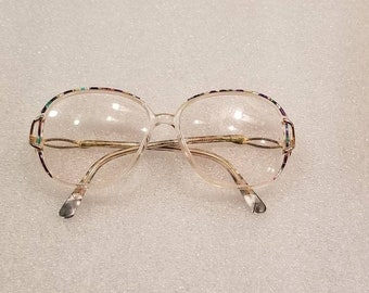 70s vintage ladies prescription bifocal glasses,  multicolored frame