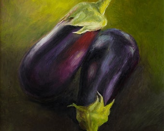 Matted Print of an Original Oil Pastel Painting of Eggplants
