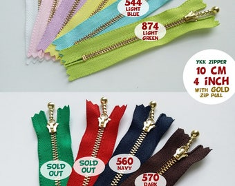 YKK Zipper/Ball Drop Metal Zipper/10cm, 12cm, 14cm, 16cm, 20cm, 25cm, 30cm/4 inch, 5 inch, 6 inch, 8 inch, 10 inch, 12 inch/GOLD/2 Pcs