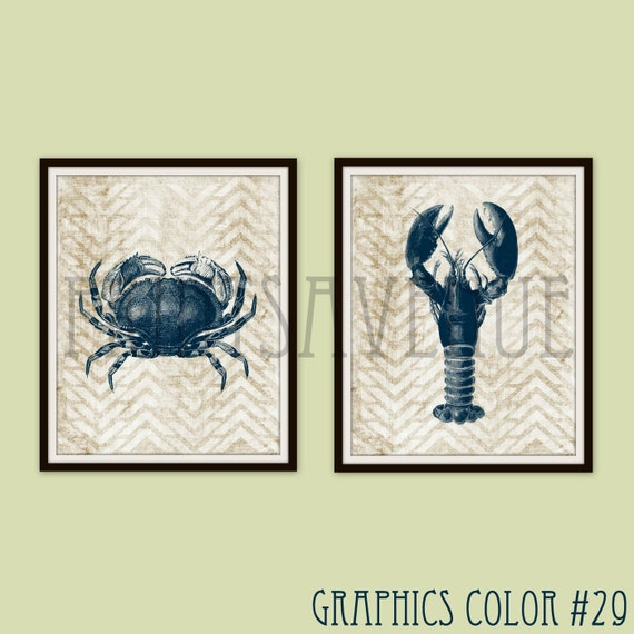 CRAB Art Print LOBSTER Wall Art SEASIDE Wall Decor Beach