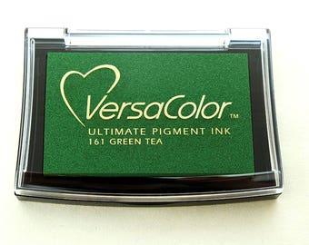 Ink pad VersaColor, Green Tea, Inkpad, Water-based Pigment Ink Pad Large, Rubber Stamp Ink, Pigment Ink Pad Versa-Color, No. 161, Dark green