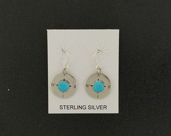 Sterling Silver  sleeping beauty Turquoise dangle earrings - Compass -