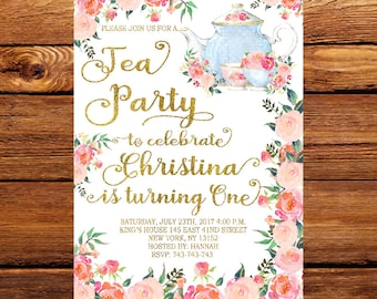 Tea Party Invitation, Princess Tea Party Invitation,Tea Party Birthday Invitation,Tea Party Ideas, Tea Party, Birthday Party 231