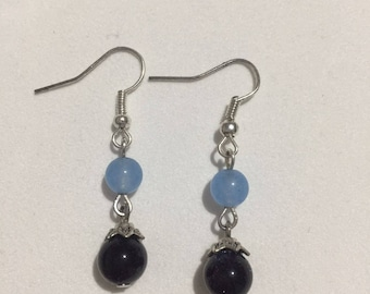 Blue Chalcedony and Sand Stone Earring