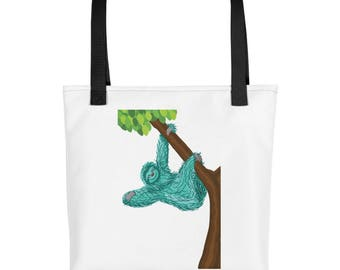 Teal Sloth purse, carry on, diaper bag, Tote bag