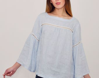 Linen Blouse Laced/  Boho blouse/ Linen Oversize Top/ Linen Tank/ Hippie Blouse/ Linen Shirt 3/4 sleeves/Blouse in Blue Linen