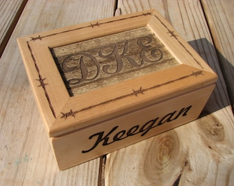 Personalized Laser Engraved Wooden  Box - Jewelry Box - Keepsake Box  - Laser Engraved Gift - Personalized Rustic Wood Box