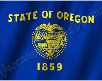 Oregon State Flag on a Metal Sign