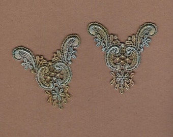 Hand Dyed Venise Lace  Appliques Edwardian Accents Set of 2 Aged Turquoise