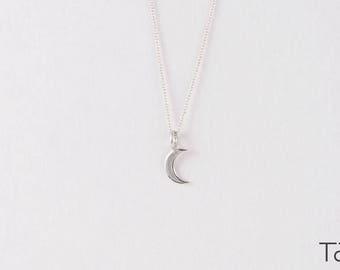 White Gold Necklace, Moon necklace, Tiny Moon Pendant, Minimal Style, Elegant Design, Romantic Necklace, Crescent Necklace, Charm Necklace