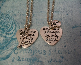 Heart Necklaces Key and Heart Lock Set for Sister Friends or Mother Daughter