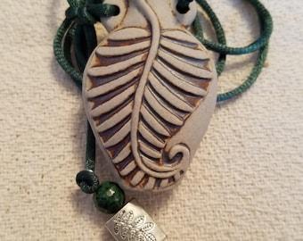 Fern leaf potion bottle necklace