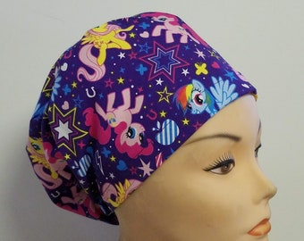 Euro Hat Close My Little Pony Medical Surgical Scrub Hat Vet Nurse Chemo CRNA Women Caps