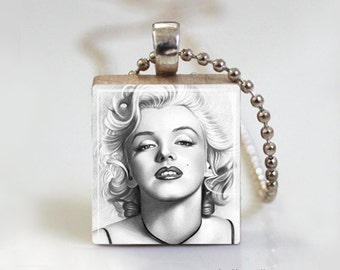 Marilyn Icon Illustration - Scrabble Pendant Necklace with Free Ball Chain Necklace or Key Ring