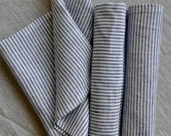 Striped Blue Linen Table Napkins | Set of 6