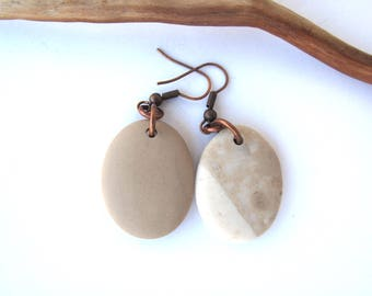River Stone Earrings Beach Stone Earrings Mediterranean Beach Pebble Natural Rock Rustic Jewelry Beach Pebble Copper DEIDRA